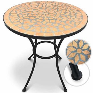 Set da Giardino Mosaico - Tavolo Rotondo (Ø/A: 60x70cm) + 2 Sedie Pieghevoli (46cm Altezza Seduta), Marrone Nero - Mobili da Esterno, da Balcone - 5