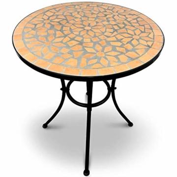 Set da Giardino Mosaico - Tavolo Rotondo (Ø/A: 60x70cm) + 2 Sedie Pieghevoli (46cm Altezza Seduta), Marrone Nero - Mobili da Esterno, da Balcone - 6