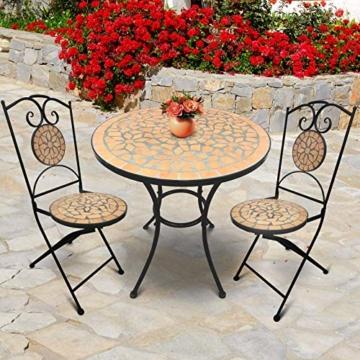 Set da Giardino Mosaico - Tavolo Rotondo (Ø/A: 60x70cm) + 2 Sedie Pieghevoli (46cm Altezza Seduta), Marrone Nero - Mobili da Esterno, da Balcone - 7