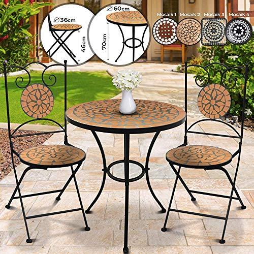 Set da Giardino Mosaico - Tavolo Rotondo (Ø/A: 60x70cm) + 2 Sedie Pieghevoli (46cm Altezza Seduta), Marrone Nero - Mobili da Esterno, da Balcone - 1
