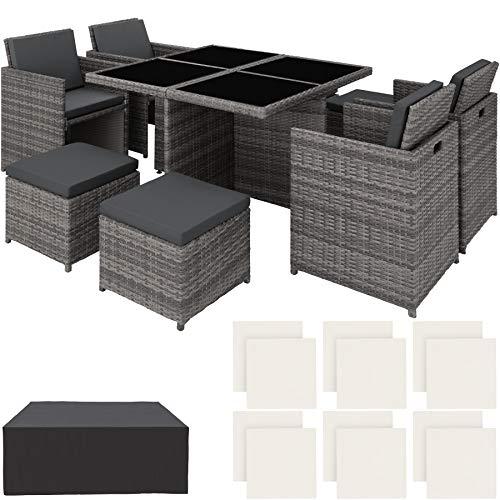 TecTake 403082 - Set di Mobili da Giardino Poli Rattan Alluminio Arredamento, 4 Sedie Tavolo 4 Sgabelli, Involucro Protettivo, Viti in Acciaio Inox, Grigio - 1