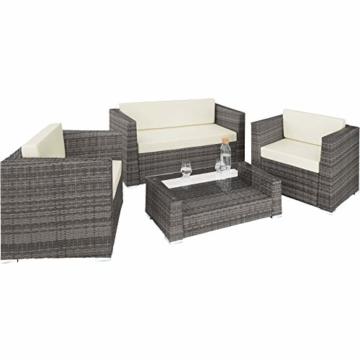 TecTake 403085 - Set di Mobili Rattan Alluminio Arredamento Giardino, 2 Set di Rivestimenti per Cusci, 4 Cuscini Extra, Viti in Acciaio Inox, Grigio - 3