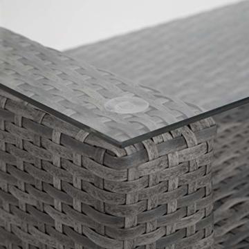 TecTake 403085 - Set di Mobili Rattan Alluminio Arredamento Giardino, 2 Set di Rivestimenti per Cusci, 4 Cuscini Extra, Viti in Acciaio Inox, Grigio - 7