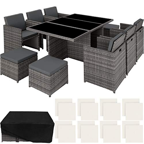 TecTake 403086 - Set di Mobili da Giardino Poli Rattan Arredamento, 6 Sedie 1 Tavolo 4 Sgabelli, Involucro Protettivo, Grigio - 1