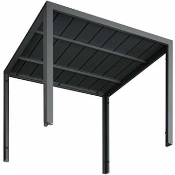 TecTake 800587 - Tavolo da Giardino, Robusta Intelaiatura in Alluminio, Pannelli dall'Effetto Legno - Disponibile in Diversi Colori (Nero | No. 402954) - 2