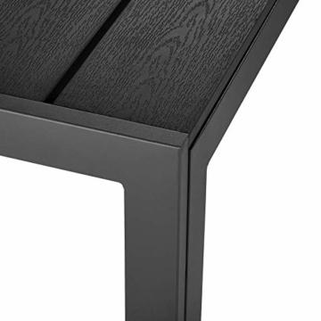 TecTake 800587 - Tavolo da Giardino, Robusta Intelaiatura in Alluminio, Pannelli dall'Effetto Legno - Disponibile in Diversi Colori (Nero | No. 402954) - 3