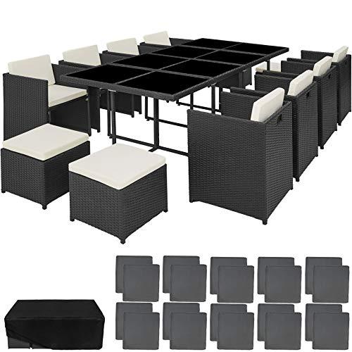 TecTake 800674 Set di Mobili da Giardino Poli Rattan e Alluminio Arredamento Set, 8 Sedie + 1 Tavolo + 4 Sgabelli, Involucro Protettivo - Colori Diversi – (Nero   No. 403089) - 1
