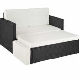 TecTake 800693 Divano Lounge in Rattan, Doppia Sdraio, Pouf con Cuscino, Elevato Comfort di Seduta - Disponibile in Diversi Colori (Nero | No. 403124) - 1