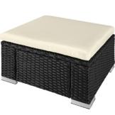 TecTake 80768 Pouf in Polyrattan, Confortevole Cuscino, Resistente alle Intemperie - Disponibile in Diversi Colori - (Nero | No.403402) - 1