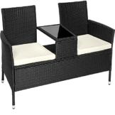 TecTake Divano da giardino divanetto tavolino da giardino in polyrattan + cuscini - disponibile in diversi colori - (Nero | No. 401547) - 1