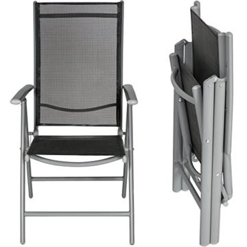 TecTake Set di alluminio sedie da giardino pieghevole con braccioli - disponibile in diversi colori e quantità - (Grigio chiaro | 2 sedie | no. 401631) - 2