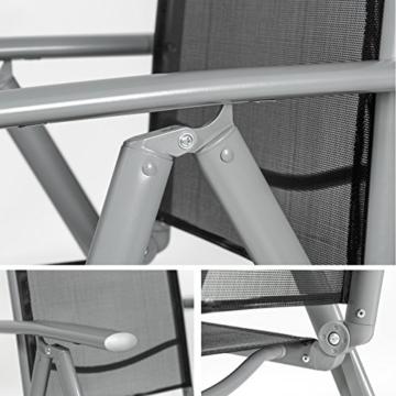 TecTake Set di alluminio sedie da giardino pieghevole con braccioli - disponibile in diversi colori e quantità - (Grigio chiaro | 2 sedie | no. 401631) - 4