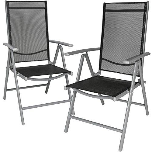 TecTake Set di alluminio sedie da giardino pieghevole con braccioli - disponibile in diversi colori e quantità - (Grigio chiaro | 2 sedie | no. 401631) - 1