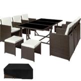 TecTake Set di mobili da giardino poli rattan arredamento set | 6 Sedie + 1 Tavolo + 4 Sgabelli | Involucro protettivo | - disponibile in diversi colori - (Marrone antico | no. 402830) - 1
