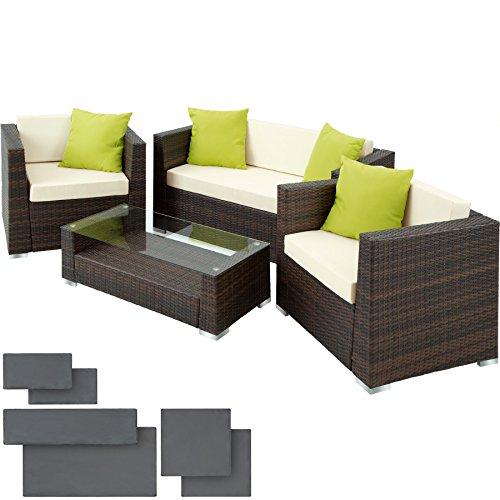 TecTake Set di mobili rattan alluminio arredamento giardino +2 Set di rivestimenti per cusci + 4 cuscini extra, viti in acciaio inox - disponibile in diversi colori - (Marrone/Nero) - 1
