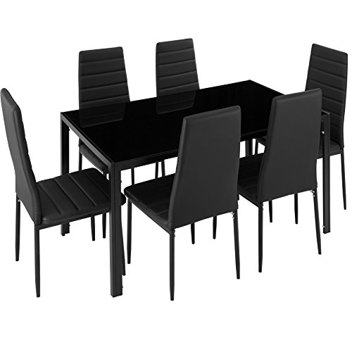 TecTake Tavolo de Pranzo con 6 sedie - Disponibile in Diversi Colori (Nero | No. 402839) - 1
