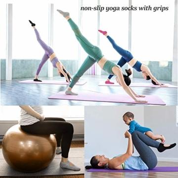 Vaxuia Adult - Calze da Yoga per Pilates, Balletto e Asta, 3 Paia di Calzini in Cotone, Taglia Unica 36-43, Colore: Grigio/Rosa/Rosso/Nero, EU36-43 - 5