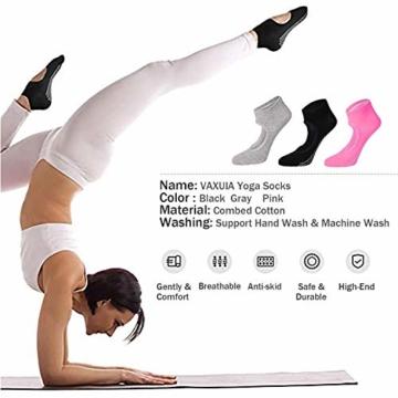 Vaxuia Adult - Calze da Yoga per Pilates, Balletto e Asta, 3 Paia di Calzini in Cotone, Taglia Unica 36-43, Colore: Grigio/Rosa/Rosso/Nero, EU36-43 - 6