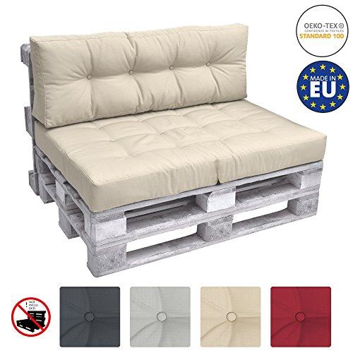 Beautissu Cuscino spalliera per Divano in Pallet Eco Elements 120x40x10-20cm - per divani con bancali di Legno - Beige - 1