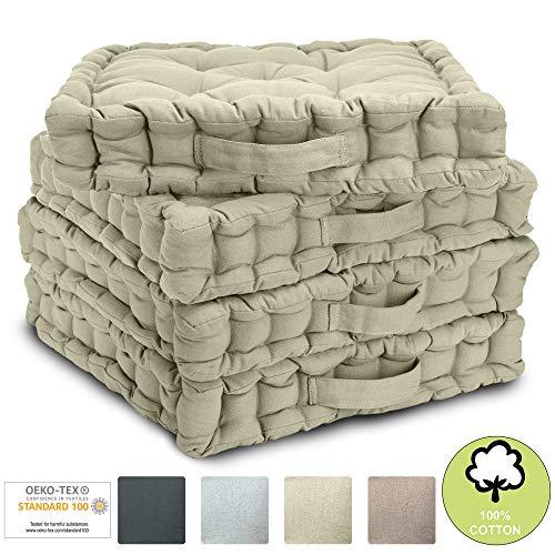 Beautissu Set di 4 Cuscini da Pavimento/Sedia Mila 40x40x8 cm Cuscino di Seduta per Interno ed Esterno con Maniglia in Beige - Imbottitura Spessa - 100% Cotone - 1