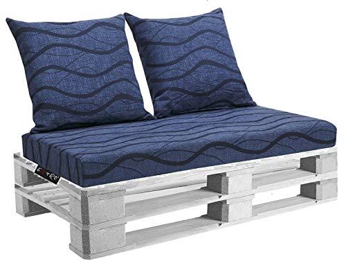 EXTROITALY Belem Onda Blu Set Cuscini 120x60 + schienali 60x60 pz.02 per Esterno/Interno arredo Pallet da Giardino Divanetto per bancale Cuscini Interno Poliuretano Tessuto Lavabile Sfoderabile - 1