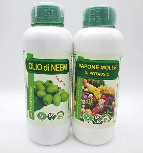 FITOKEM Duo Kit Olio di Neem per Piante 1 lt + Sapone Molle di potassio corroborante 1 lt - 1