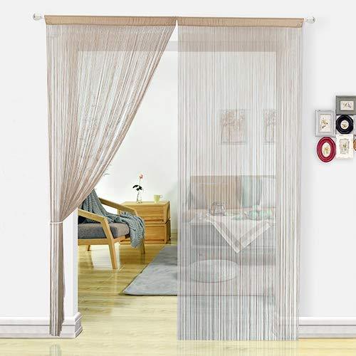 HSYLYM - Tenda a Fili in Pannelli per camere da Letto, Porte, zanzariera, divisorio di stanze, Decorazione per la casa, Poliestere, Ecru, 90x245cm - 1