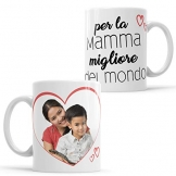 LaMAGLIERIA Tazza Personalizzata con la Tua Foto per la Mamma Migliore del Mondo! - Custom Mug in Ceramica Festa della Mamma - cod. DES25 - 1