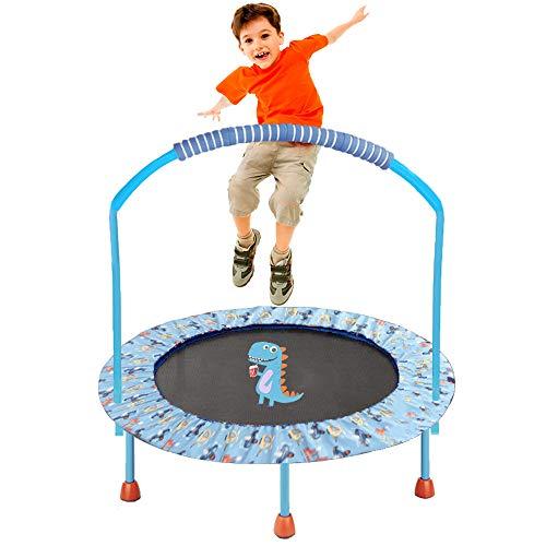 LBLA ø38 Pollici Trampolino per Bambini con Corrimano Regolabile e Imbottitura di Sicurezza Mini Trampolino Elastico Pieghevole per Bambini con Maniglia - Sportivi per Bambini (Dinosauro) - 1