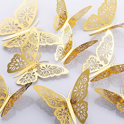 MWOOT 48 pezzi 3D farfalle adesivi da parete, (d'oro/argento) sticker decorativi da parete per la festa di compleanno decorazione della camera da letto di nozze decorazioni per la casa - 1