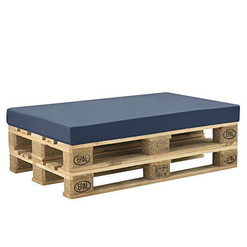 [neu.haus] Cuscino per Mobili di Pallett con Fodera 120 x 80 x 10 cm Spugna con Rivestimento Uso Interno e Esterno Blu Scuro - 1