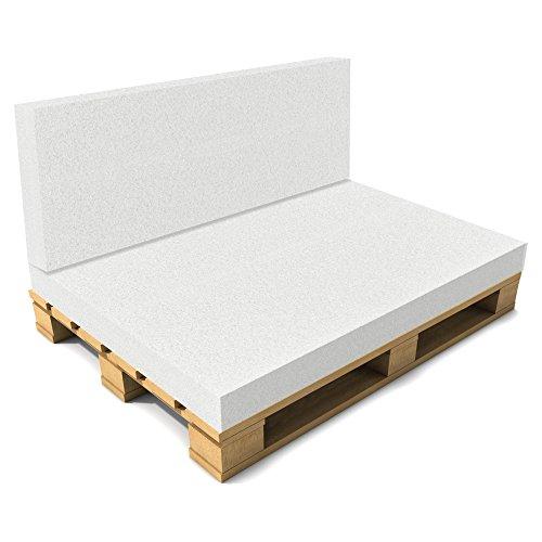 [neu.haus] Cuscino Schienale per Pallet Senza Fodera - Foglio Imbottitura per divani - 40 x 120 x 8 cm - Bianco - 1