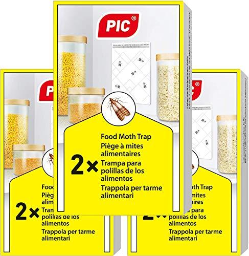 PIC Trappola Anti Tarme del Cibo - Confezione da 3 buste con due trappole = 6 pezzi – Trappola di colla per farfalline del cibo, trappole ai feromoni acchiappa tarme alimentari - 1