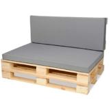 SuperKissen24 Materasso Cuscino per Bancale Divano Pallet 120x80 con Schienale 120x40 cm Seduta Impermeabile e Comodo per Divanetti da Esterno - Grigio - 1