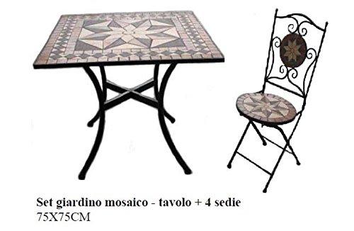 Bagno Italia Arredamento per Esterno Set Giardino tavolino Quadrato in Mosaico con 4 sedie arredo Ferro battuto I - 1
