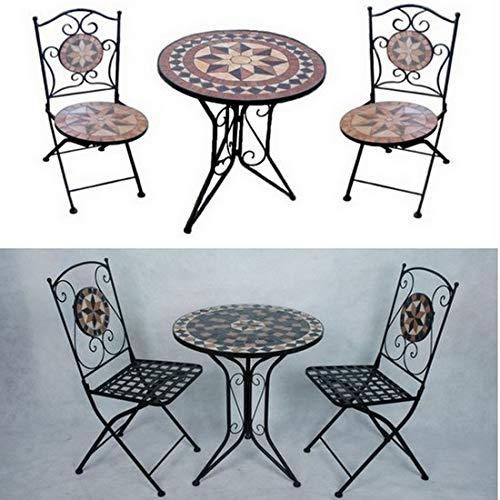 Bagno Italia Arredamento per Esterno Set Giardino tavolino Rotondo in Mosaico con 2 sedie arredo Ferro battuto I - 1