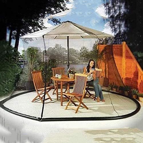 BCXGS Patio Umbrella Zanzariera a Rete, Zanzariera per ombrelli - Gazebo per zanzariera - con Tubo - Bianco,275cm x 230cm - 1