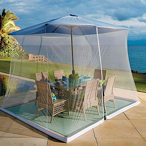 BCXGS Zanzariere Ombrellone da Esterno Copertura, Patio Umbrella Zanzariera a Rete, Protezione dal Sole Design Zippered Mesh Enclosure Cover Patio Ombrello Bug Net,300 x 400 x 230cm - 1