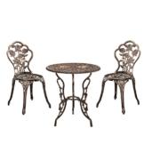 [casa.pro]®] Tavolo+2 SEDIE GHISA Antico Bronzo Bistro Set Giardino Set Seduta - 1
