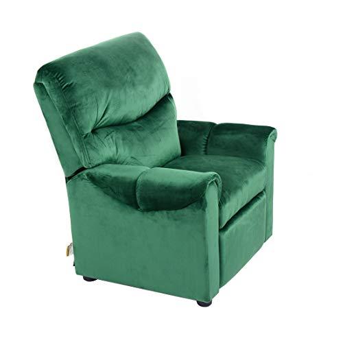 Cribel Teddie Poltrona Relax per Bambini, Struttura in Legno, Rivestimento in Velluto, Colore Verde - 1