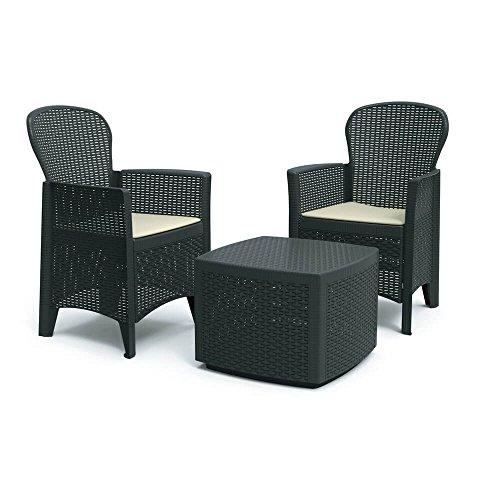 DMORA 8052773491754 Set da Giardino con Cuscini, 2 Poltrone e 1 Tavolino Contenitore da Esterno, Made in Italy, Antracite - 1