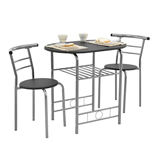 [en.casa] Set mobili Bistro - Tavolo con 2 sedie - Nero/Argento - Metallo, MDF - 1