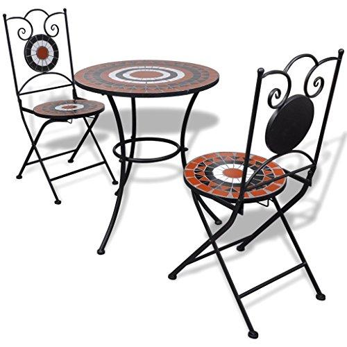 Festnight Set da Bistrò con Tavolo Rotondo e 2 Sedie Pieghevoli in Metallo con Mosaico,Set Tavolo e Sedie da Giardino Esterno in Metallo,Set Tavolo e Sedie da Balcone in Metallo - 1