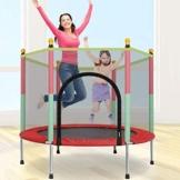 Giardino All'aperto Bambini Trampolino, 140Cm Bambini al Chiuso Trampolino Che Giocano Rimbalzo Elastico Sport Fitness per Adulti Training con Rete Protezione, Copertura del Bordo - 1