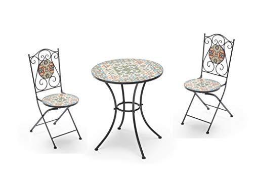 Gruppo Maruccia Set Pranzo da Giardino Elba 2 posti con Struttura in Ferro e Mosaico di Ceramica Set Tavolo con sedie Arredamento Bar Arredamento Esterni - 1