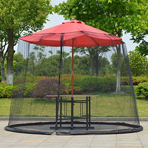 HilMe - Parasole per ombrello da giardino con zanzariera, 300 x 230 cm, copertura in rete per mobili da terrazza con cerniera, Non null, Nero , Taglia libera - 1
