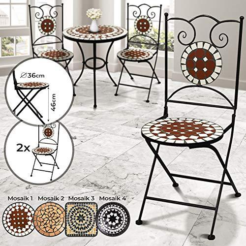 Jago Sedie a Mosaico - Set da 2, Pieghevoli, Rotonde (Ø 36x92cm) o Quadrate (36x36x92cm) - Sedia Bistro da Esterno, Giardino, Sgabello da Balcone con Effetto Mosaico - 1