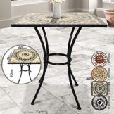 Jago Tavolo Mosaico - Modello a Scelta: Rotondo (Ø 60x70cm) o Quadrato (60x60x70cm), in Ceramica - Tavolino da Esterno, Giardino, Balcone con Effetto Mosaico (Mosaico 3 (Beige-Bianco-Nero)) - 1