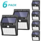 luce solare led esterno, SEZAC [42 LED / 3 modalità] luce solare esterno a LED Lampade solari impermeabili senza fili Luce sensore di movimento (confezione da 6) - 1