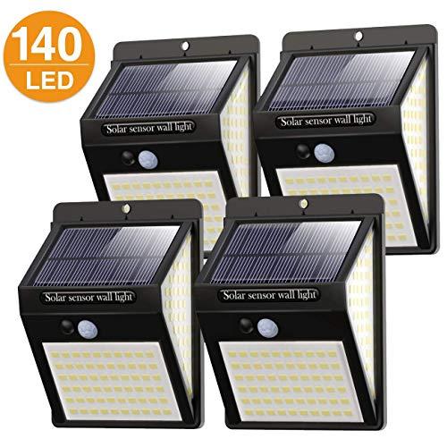 Luci solari per esterni, 140 LED, Litogo, versione 2020, per esterni con sensore di movimento, 1200 mAh, impermeabili, 800 lm, 3 modalità, 270°, per esterni - 1